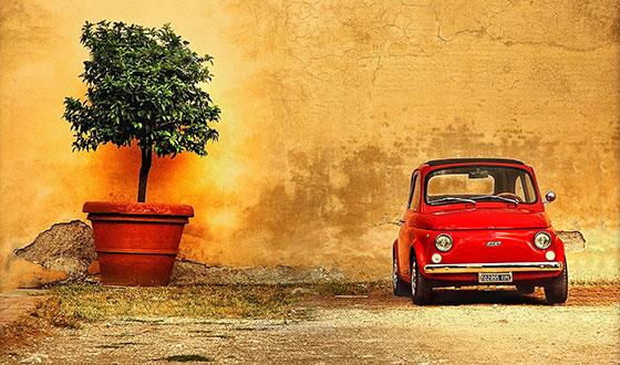 машина и дерево в hdr