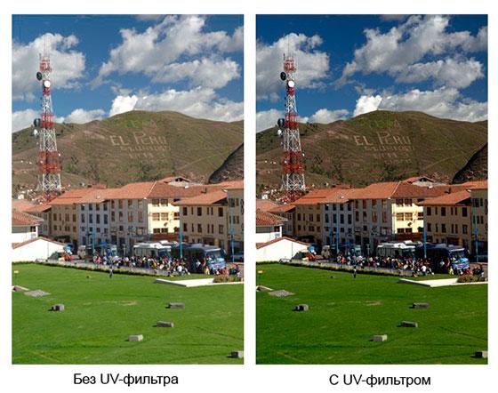 пример использования улььтрафиолетового фильтра